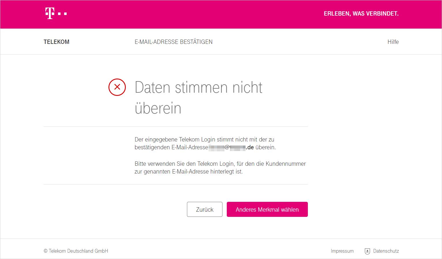 Bestätigung E-Mail-Adresse   Telekom Hilfe